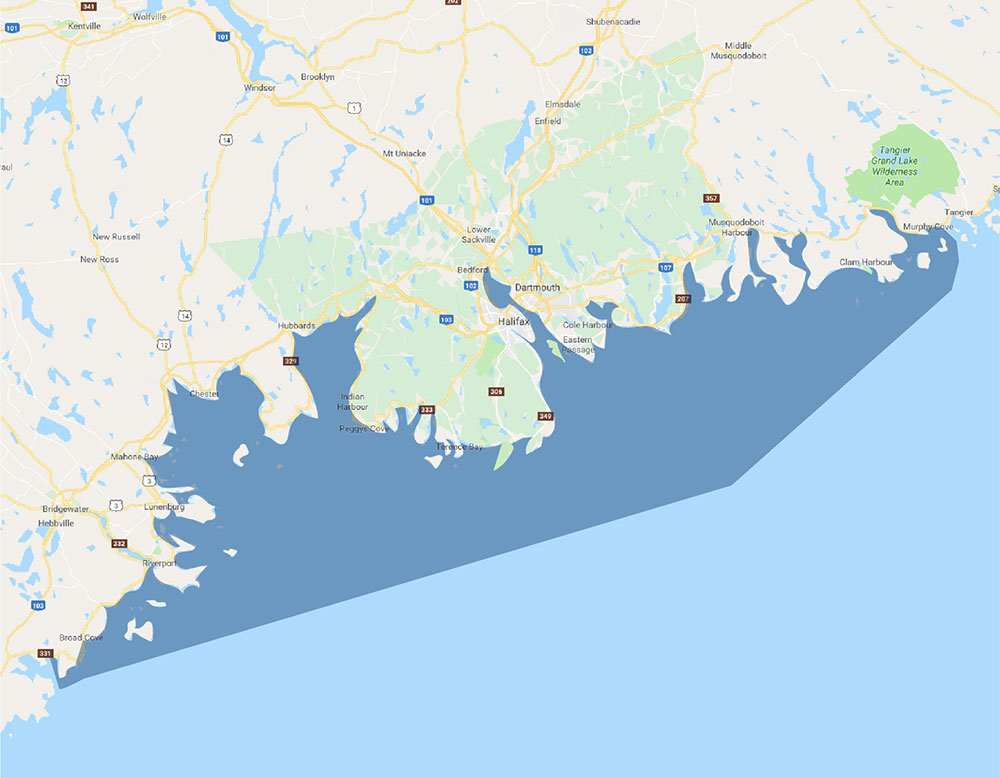 Nova Scotia Columbia Coverage Areas